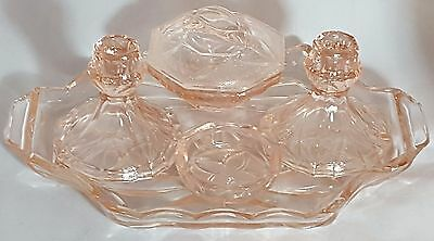 Beautiful Art Deco Pink Glass Dressing Table Set.