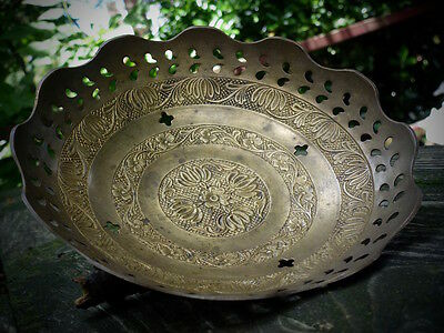 """antique plate metal bowl engraved vintage old indian collectible 7"""""""