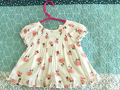 PUMPKIN PATCH ~ Cream Smock With apricot Floral Pattern - 9 Months