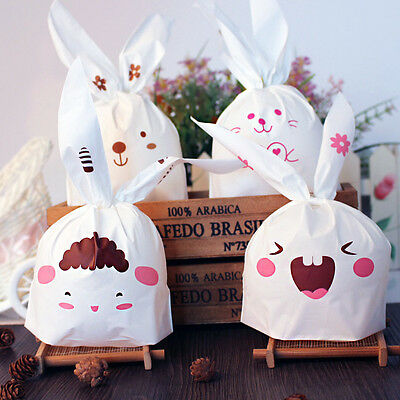 50pcs Rabbit Ear Cookie Bags Self-adhesive Plastic Bags Biscuits Baking Package