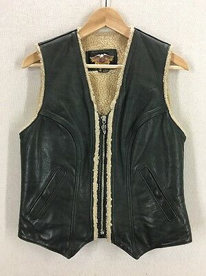 Women's Harley Davidson Leather Sherpa Lined Motorcycle Vest Sz Small