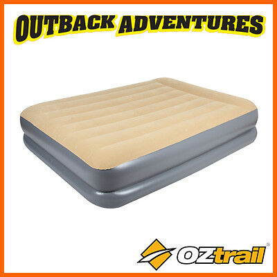 Oztrail  Queen Double Height  Velour Air Bed Camping Mattress New Model