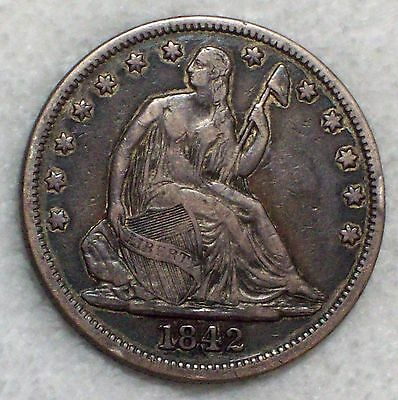 1842 SILVER Seated Liberty Half Dollar Authentic XF Detailing - Dark Toning 50C