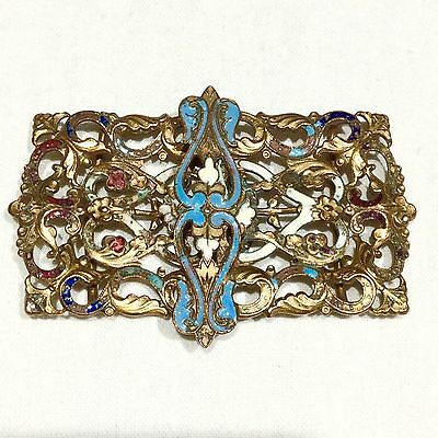 ANTIQUE FRENCH VICTORIAN c1890's ENAMEL FILIGREE CHAMPLEVE BELT BUCKLE