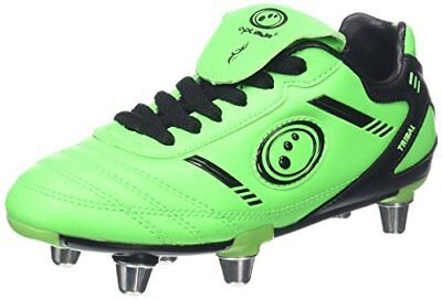 OptimumTribal - Scarpe da rugby Bambino, Green (Fluro Green/Black), 5 UK (R7n)