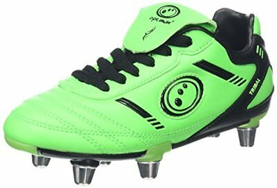 OptimumTribal - Scarpe da rugby Bambino, Green (Fluro Green/Black), 6 UK (a9c)