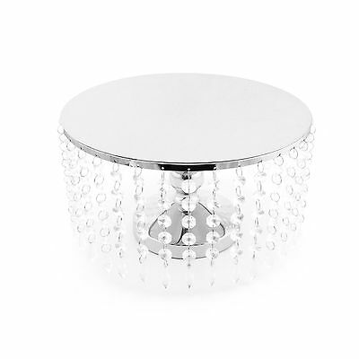 Silver Metal Cake Stand Acrylic Crystals Cupcake Dessert Platter Party Birthday