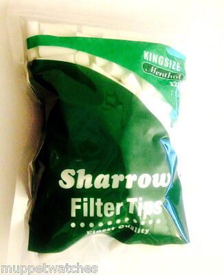 1 x BAG of KING SIZE MENTHOL 7.13mm FILTER TIPS By SHARROW = 200 Tips Total