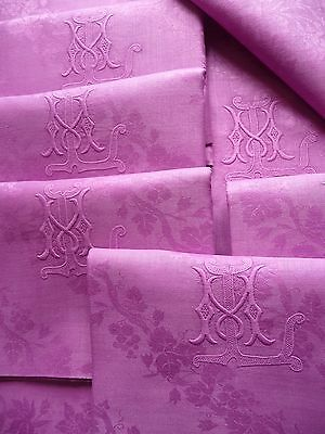 "6 FRENCH LINEN NAPKINS ANTIQUE FRENCH LINEN ""ORCHID"" FRENCH TABLE LINENS set 1"