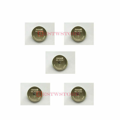 Lot of 5 New MAXELL ML2032 ML 2032 3V Rechargeable Button Coin Cell CMOS BATTERY