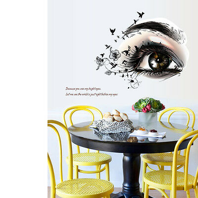 Beautiful Women Big Eye Wall Art Decal Removable Bedroom Decor Mural PVC Sticker