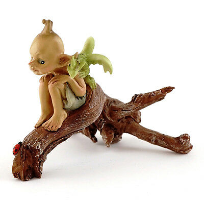 Top Collection Fairy Garden Pixie with Baby Dragon on Branch