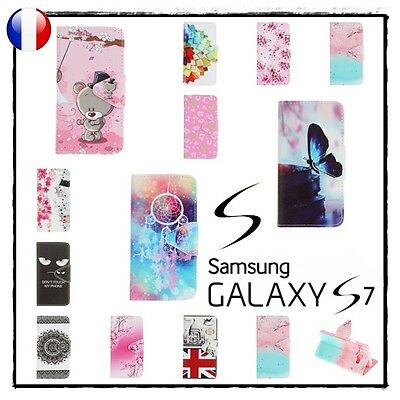 Etui Housse Coque porte-carte Stand Wallet Case Cover Samsung Galaxy S7 - G930