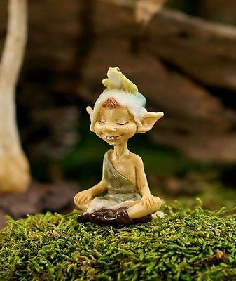 Top Collection Fairy Garden - Pixie Meditating with Frog