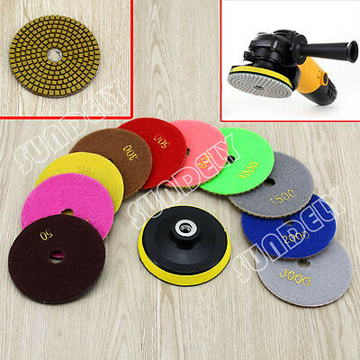 11Pcs 4'' inch 100mm Diamond Polishing Pads Set Granite Concrete Glass Marble UK