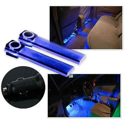 12V 4LED Car Auto Interior Atmosphere Lights Floor Decoration Lamp Light Blue#GA