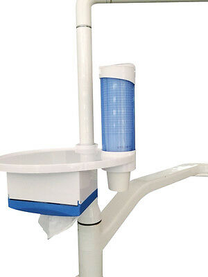 Dental 3 in 1 Oral Tray Tissue Box and Cup Storage Holder for Dental Chair Blue