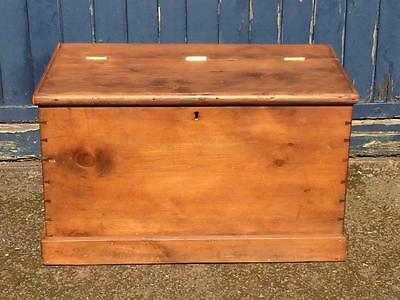 Antique Victorian Large Pine Chest / Blanket Box with Folding Hinged Lid