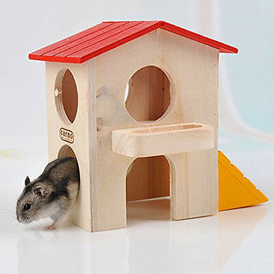 2-layer Mini Hamster Squirrel Mouse Pet Wooden Bed House Cage Habitat Villa