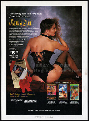 PENTHOUSE Satin & Lace__Original 1992 Trade Print AD promo__History of Lingerie