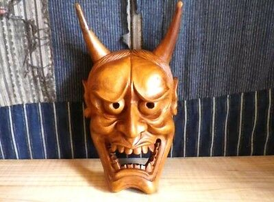 JAPANESE ANTIQUE WOOD CARVING MASK DEMON DEVIL LACQUER HANNYA NOH ONI r310