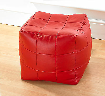 Betterdreams Red Patchwork Faux Leather Bean Bag Cube/Pouffe Filled  Free P&P