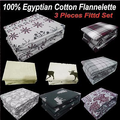 NEW QUEEN S KING Size BED EGYPTIAN Cotton FLANNELETTE / FLANNEL FITTED SET
