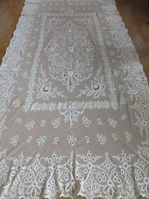 Antique French Cornelli Lace Hand Embroidered Curtain Panel Bedspread