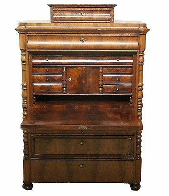 Antique Walnut Drop Flap Bureaux Chest with Fitted Interior and Various Drawers
