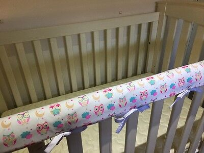 2 x Reversible Baby Cot Crib Teething Rail Cover Protector ~  owls