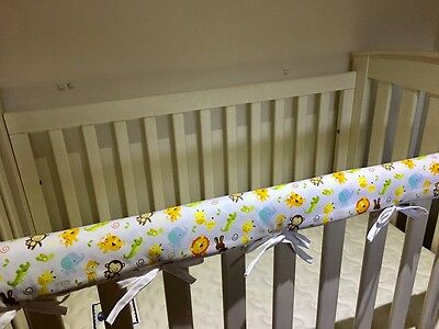 2  x Reversible Baby Cot Crib Teething Rail Cover Protector ~ Zoo Animals