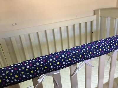 2 x Reversible Baby Cot Crib Teething Rail Cover Protector ~ Stars