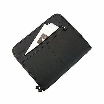Alassio Conference Folder Zipped 3 Compartments A4 Leather-look Black Ref (A4L)