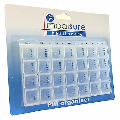 Medisure Weekly Pill Organiser - 7 Day 28 Compartments Hold Daily Case Container