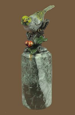 Colorful Finch Bird Signed Collectible Bronze Bookend Sculpture Statue Figure
