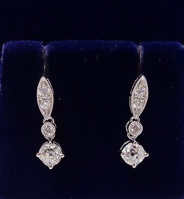 0 84ct Diamond Drop Earrings In 18ct White Gold Antique Diamonds Length 17mm