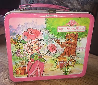 Rare original 1983 Vintage ROSE PETAL PLACE METAL LUNCH BOX WITH THERMOS
