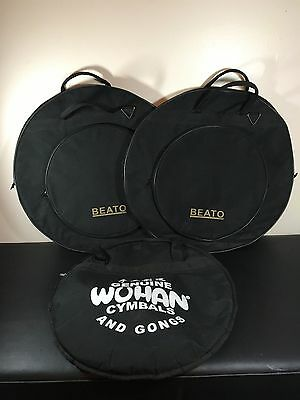 """Lot Of Three Large Soft Cymbal Bags Two 24"""" Beato Bags & One 22"""" Wahan Bag"""
