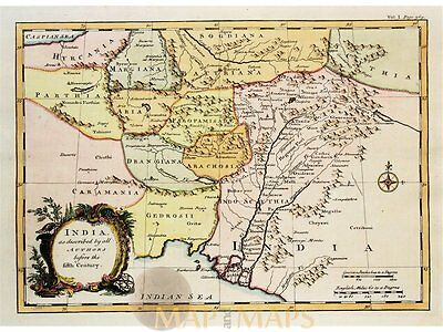 India as described by all authors Antique Bowen map 1745