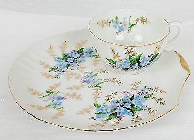 Vintage Japan Blue Forget-me-not - Snack Luncheon Tea Cup and Clam Plate