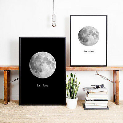 The Moon Black White Minimalist Poster Canvas Art Print Home Wall Decoration 578