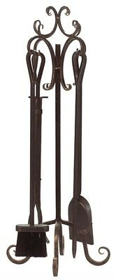 "Panacea Fireplace Tool Set 5 Piece Scroll Design 29"" X 10"" X 10"" Brushed Bronze"
