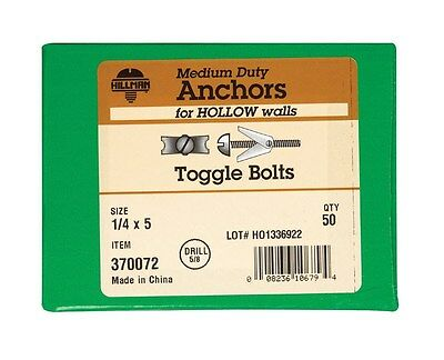 """Hillman Toggle Bolts 1/4 """" X 5 """" Round Head Slotted Zinc Plated Steel 50/Box"""