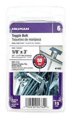 """Hillman Toggle Bolt 1/8 """" X 3 """" 50 Lb. For 3/8 """" - 2 15 / Card Pack of 5"""