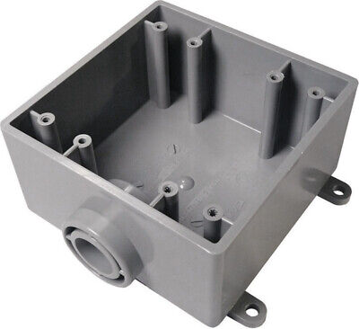 """Cantex Outdoor Switch/Outlet Box Fse Pvc 2 Gang, 3/4 """" Openings Bulk"""