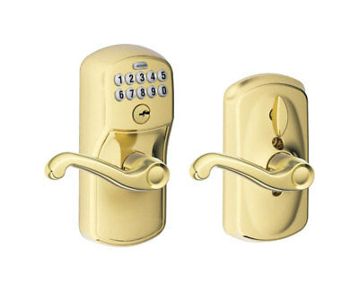 "Schlage Electronic Keypad Entry Lock 7/8"" 1"" X 2-1/4"" Plymouth Bright Brass"