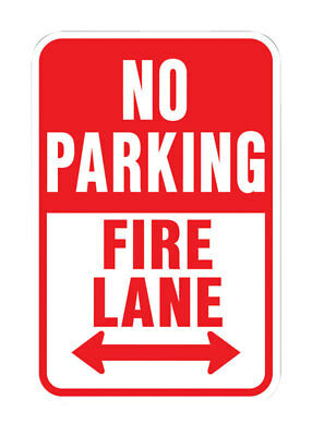"Hy-Ko Highway Sign White 12"" X 18"" No Parking Fire Lane Aluminum"