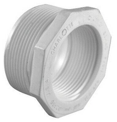 """Charlotte Pipe Reducer Bushing Mpt X Fpt 1-1/2 """" X 3/4 """" White Schedule 40 Pvc"""
