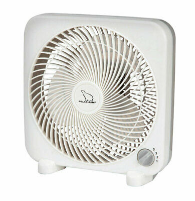 Polar Aire Mini Box Fan 9 In. 3 Speed Gray, White