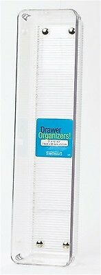 """Interdesign Drawer Organizer Clear Linus 3"""" X 12"""" X 2"""" Clear Plastic With Ribbed"""